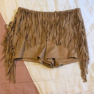 Adorable Brown Suedette Fringe No Pocket Shorts